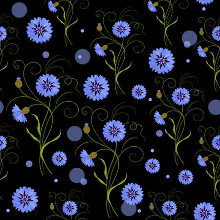 Seamless pattern with blue cornflowers and circles on black background. Vector illustration. Illustration