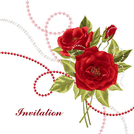 beads: Beautiful bouquet of red roses with beads isolated on white. Illustration