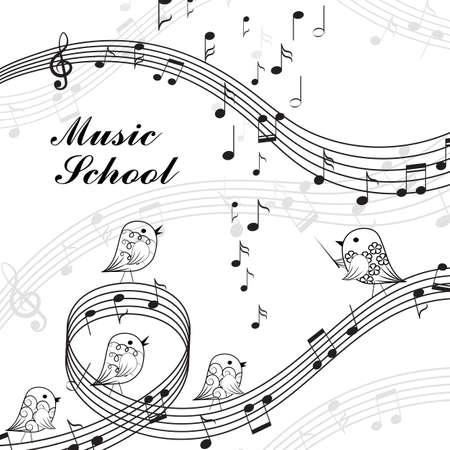 Ilustración del vector del canto de los pájaros y elementos musicales en estilo blanco y negro. letras de la escuela de música.