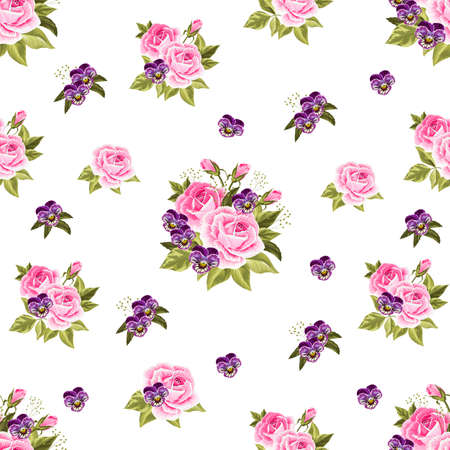 Seamless floral pattern with pink roses and violet pansies isolated on white background.