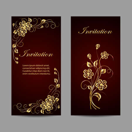 Set of invitation cards design. Gold flowers on dark red background with pattern. Vector illustration.
