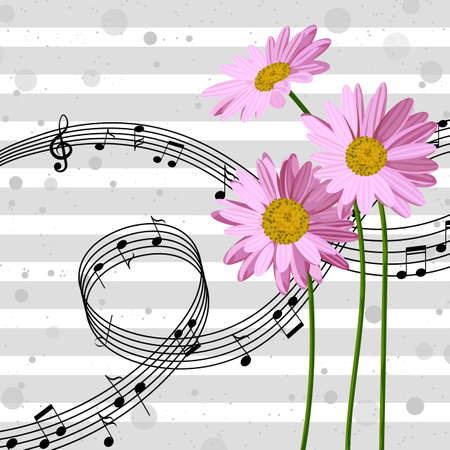 Vector illustration with music notes and pink daisies on striped background.