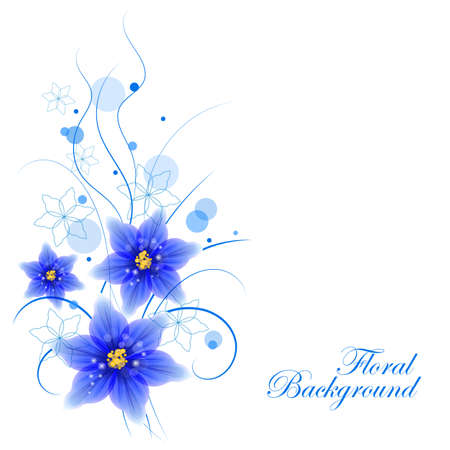 yellow card: Floral vector background with beautiful blue flowers and circles for use in your design. Vector illustration.
