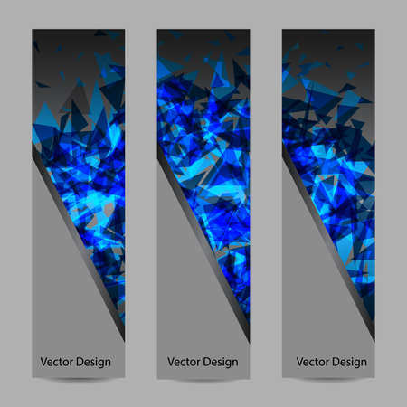 vertical divider: A set of vertical vector banners with blue triangles on dark backgrond. Abstract explosion. Business, science, medicine and technology design. Illustration