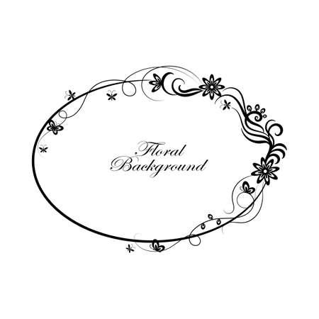 Oval cadre ornemental simple dans le style noir et blanc. Vecteurs