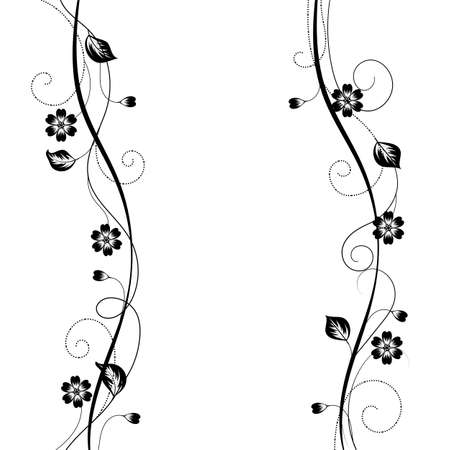 black branch: Simple floral background in black and white style Illustration