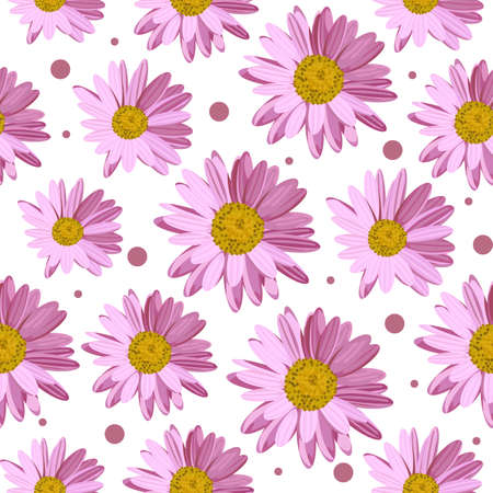 Seamless pattern with pink daisies and circles on white background. Vector illustration. Ilustração
