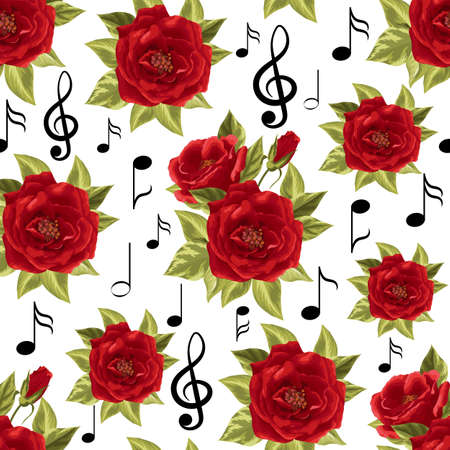 Seamless pattern with music notes and red roses isolated on white background. Illustration