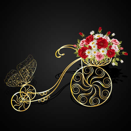 gold leaf: Gold model of an old bicycle with a basket full of flowers. Vector illustration on black background.