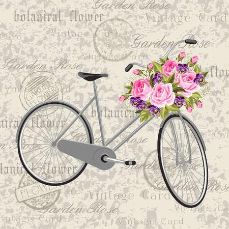 bicicleta de color gris con una cesta llena de flores. postal del fondo de la vendimia. Ilustración del vector.