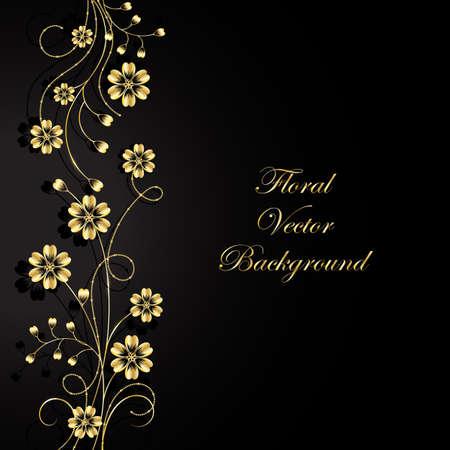 Gold flowers with shadow on dark background. Vector illustration. Vektorové ilustrace