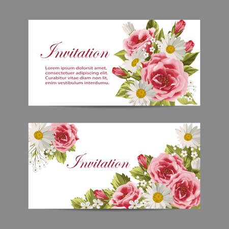 compositions: Set of horizontal banners. Beautiful compositions with pink roses and daisies isolated on white.
