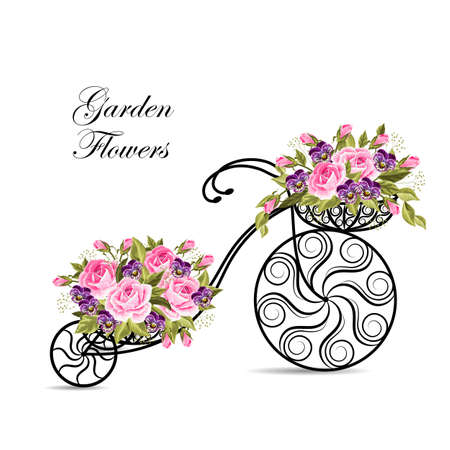Decorative model of an old bicycle with a basket full of flowers. Vector illustration on white background. Illustration