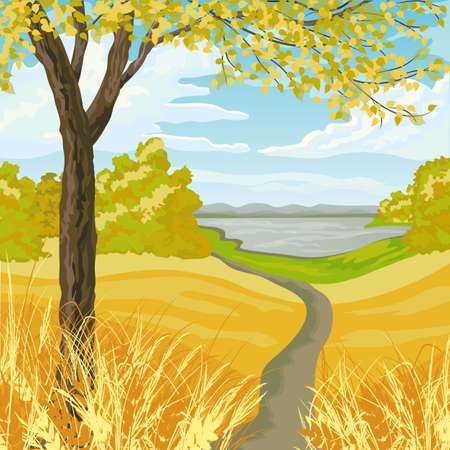 buch: Autumn landscape with yellow meadow, trees, lake and blue cloudy sky.
