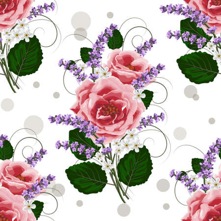 Seamless floral pattern with pink roses and lavenders on white background. Illustration