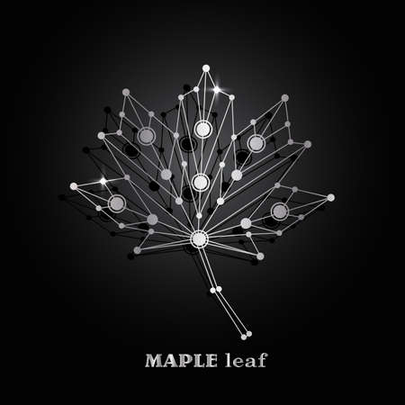 Silver vector maple leaf made of connected lines and dots on black background.