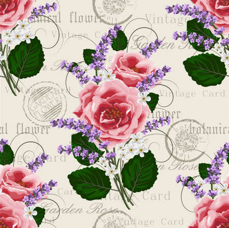 Seamless floral pattern with pink roses and lavenders on vintage postcard background. Vector illustration. Imagens - 64363888