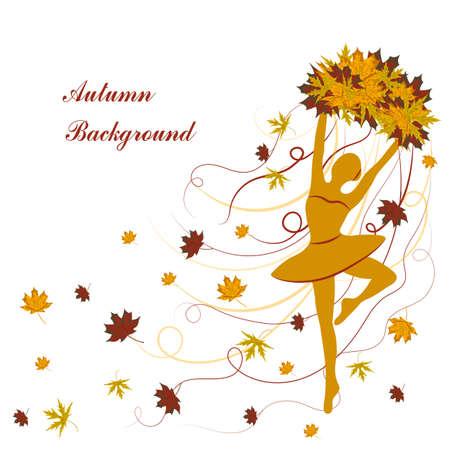 Tedere ballerina houdt esdoornbladeren met linten. Herfst achtergrond voor gebruik in uw ontwerp. Stockfoto - 64363889