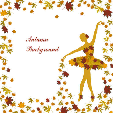 sprinkling: Tender ballerina is sprinkling maple leaves. Autumn background for use in your deesign.