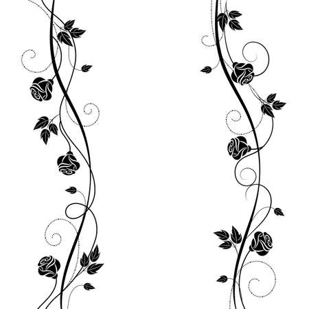 Simple floral background in black and white style Ilustração