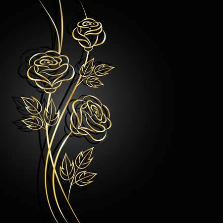 Gold flowers with shadow on dark background. Vector illustration.