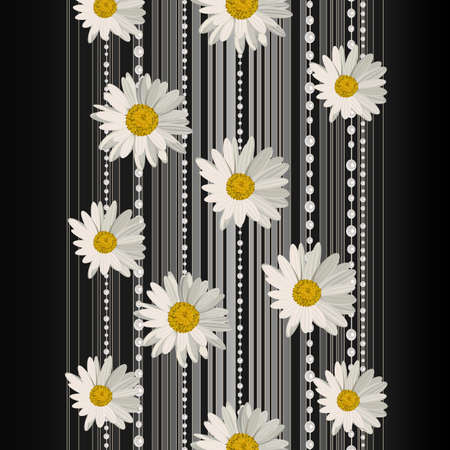 fields of flowers: Beautiful white daisy flowers on dark background with stripes and pearls.