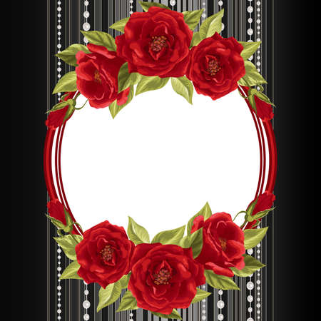Delicate frame with red roses on dark background with stripes and pearls. Vector illustration for greeting card or invitation design. Illustration