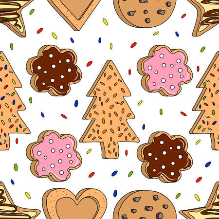 Seamless pattern with home made cookies. Vector illustration.