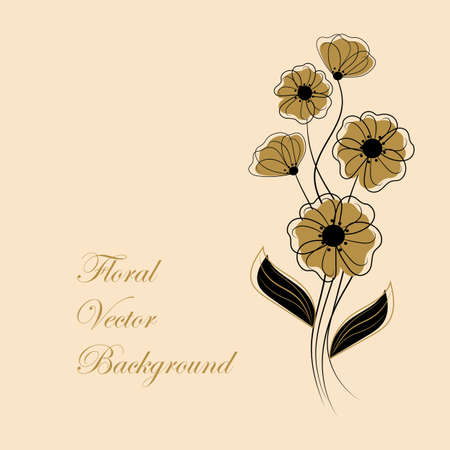 Simple floral background in black and yellow colors with place for your text.