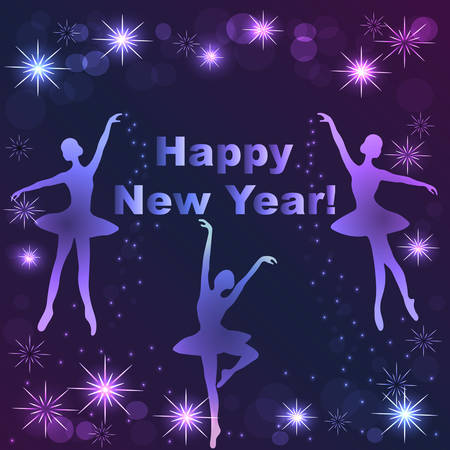 Happy New Year lettering greeting card with snowflake ballet dancers and stars. 版權商用圖片 - 68409015