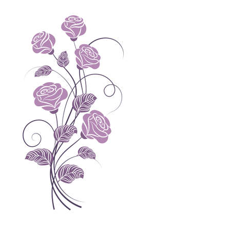 Beautiful bouquet of purple roses isolated on white.