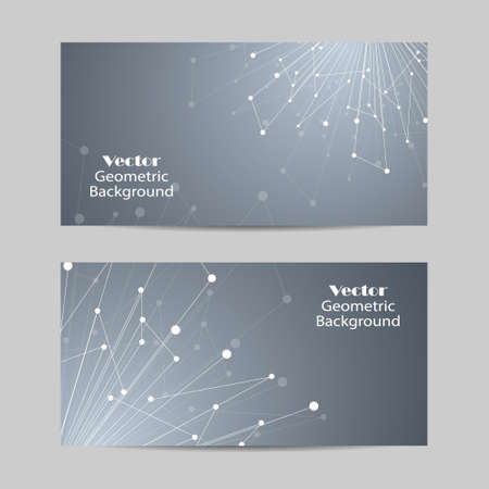 Set of horizontal banners. Geometric pattern with connected lines and dots. Vector illustration on grey background.