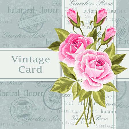vintage: Vintage card with flowers
