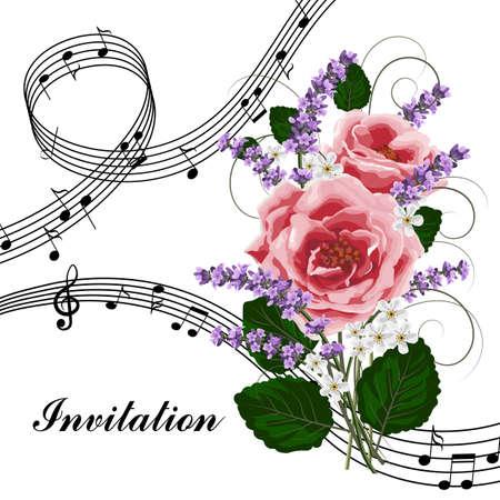 Roses roses avec des notes de musique.