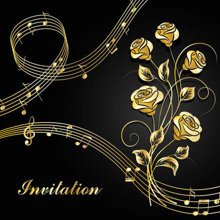 prestigious: Gold roses with music notes.