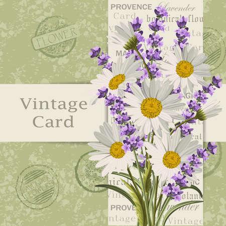花を持つヴィンテージのカード。