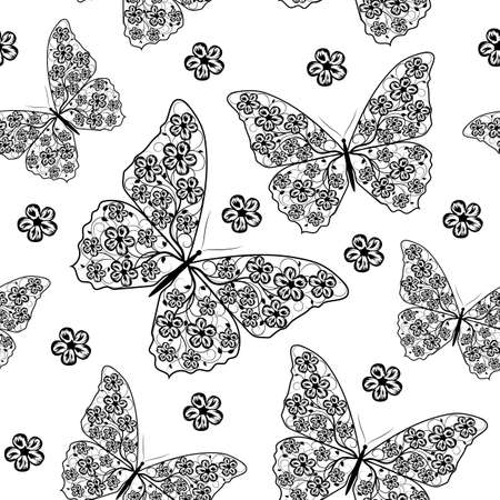 animal silhouette: Beautiful seamless pattern with butterflies and flowers in black and white style.