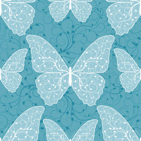 Beautiful seamless pattern with butterflies on blue background.
