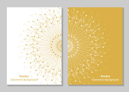 Modern vector templates for brochure cover in A4 size. Abstract geometric background with connected lines and dots. Business, science, medicine and technology design. Illustration