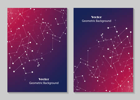 size: Modern vector templates for brochure cover in A4 size. Abstract geometric background with connected lines and dots. Business, science, medicine and technology design. Illustration