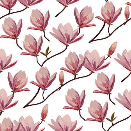 Seamless pattern with blossom brunches of magnolia.