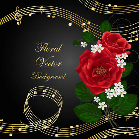 Vector illustration with music notes and flowers on black background.