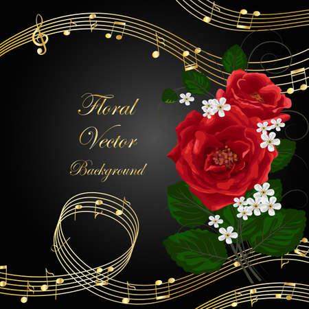 Vector illustratie met muziek notities en bloemen op zwarte achtergrond.