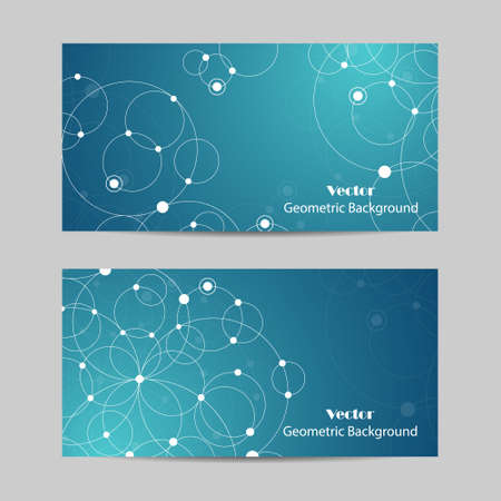 Set of horizontal banners. Abstract geometric background with connected circles and dots. Vector illustration. Illustration