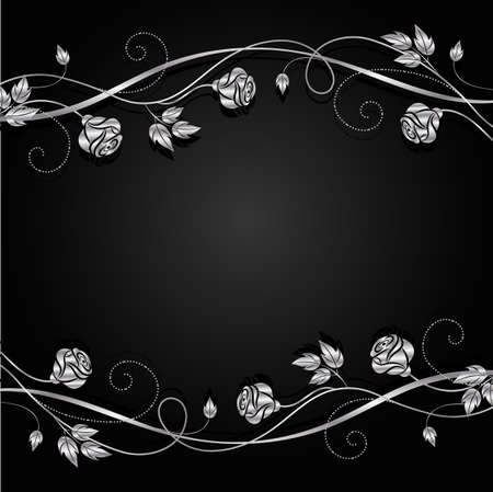 silver background: Silver flowers with shadow on dark background.