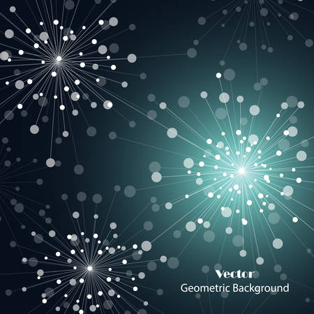 Geometric pattern with connected lines and dots in a shape of fireworks. Vector illustration.