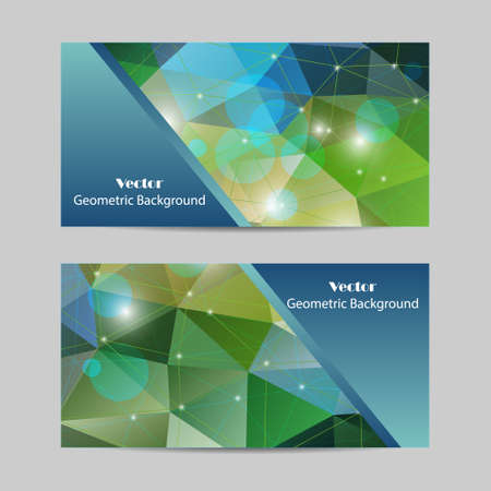 Set of vector banners with polygonal background
