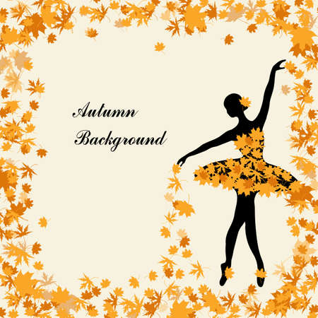 Tender ballerina is sprinkling maple leaves. Autumn background for use in your deesign.