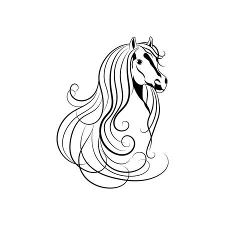 A Vector illustration of Horse head in black and white style.