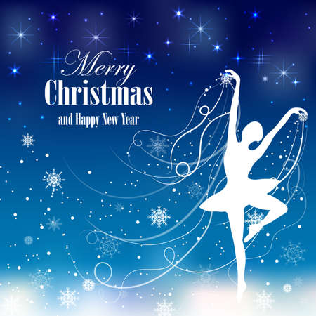 Christmas and New Year greeting card with tender ballerina and snowflakes.